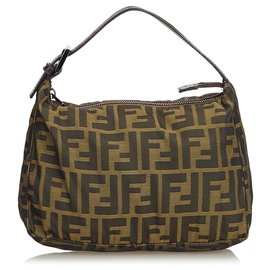 Fendi-Fendi Brown Zucca Sac à main en nylon-Marron,Marron foncé