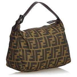 Fendi-Fendi Brown Zucca Nylon Handbag-Brown,Dark brown