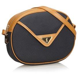 Yves Saint Laurent-YSL Black Zipped Crossbody Bag-Brown,Black