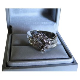 inconnue-Diamonds Cocktail Ring (+ 0.5 Cts)  WHITE GOLD 18 Cts-Silvery