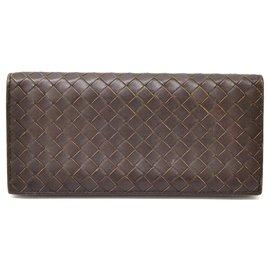 Bottega Veneta-Bottega Veneta Intrecciato Bifold Wallet-Brown