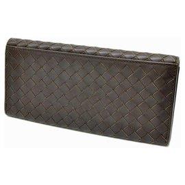 Bottega Veneta-Bottega Veneta Intrecciato Bifold Wallet-Marron