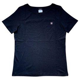 Chanel-Chanel schwarzes T-Shirt-Schwarz