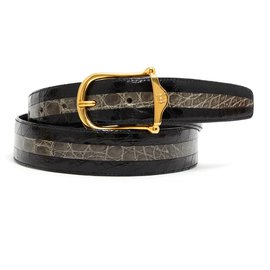 Céline-2 TONS CROCO T80/85-Black,Golden,Grey
