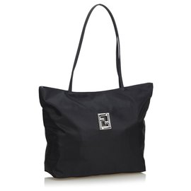 Fendi-Fendi Black Zucca Nylon Tote Bag-Black