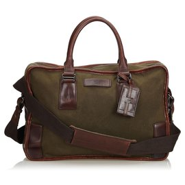 Gucci-Gucci Brown Canvas Business Bag-Brown,Khaki,Dark brown
