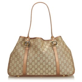 Gucci-Gucci Brown GG Jacquard Twin Tote Bag-Marron,Marron clair,Marron foncé