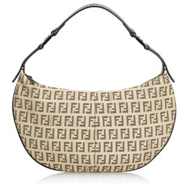 Fendi-Fendi Brown Zucchino Canvas Baguette-Brown,Light brown,Dark brown