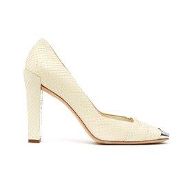 Christian Dior-OFF WHITE PYTHON FR38.5-Écru