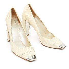 Christian Dior-OFF WHITE PYTHON FR38.5-Cream