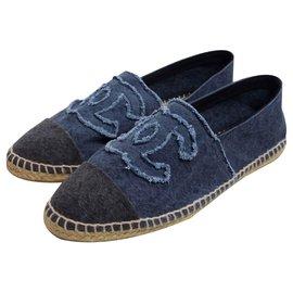 Chanel-Espadrilles-Bleu foncé