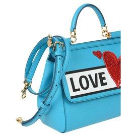 Dolce & Gabbana-DOLCE E GABBANA HANDBAG BAG SAC BORSA SICILY NEW-Light blue