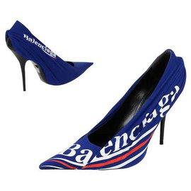 Balenciaga-BALENCIAGA DECOLLETE IMPRIME 12 CM HEELS NOUVEAU-Bleu