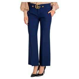 Gucci-GUCCI PANTALON BLEU GG MARMONT BOUCKLE NEUF-Bleu