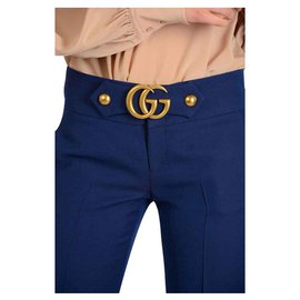 Gucci-GUCCI PANTS BLUE GG MARMONT BOUCKLE NEW-Blue