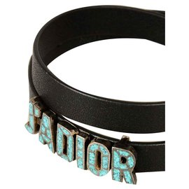 Dior-DIOR BLACK LEATHER BRACELET J'ADIOR-Black