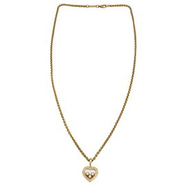 """Chopard-Chopard necklace """"Happy Diamonds"""" yellow gold, diamants. Small model.-Other"""