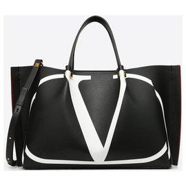 Valentino-VALENTINO SAC SAC MOYEN POUR ACHATS VLOGO ESCAPE AVEC INSERTION-Noir,Blanc
