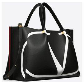 Valentino-VALENTINO BAG MEDIUM BAG FOR SHOP VLOGO ESCAPE WITH INSERTION-Black,White