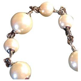 Chanel-Bracelet Chanel en métal vieilli avec 8 Perles de # grosseurs-Blanc