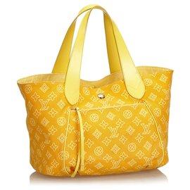 Louis Vuitton-Louis Vuitton Yellow Cabas Ipanema GM-Jaune