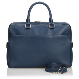 Louis Vuitton-Louis Vuitton Blue Taiga Porte Documents Briefcase-Blue
