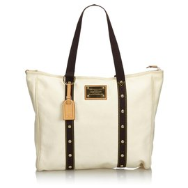 Louis Vuitton-Louis Vuitton White Antigua Cabas GM-Brown,White,Cream