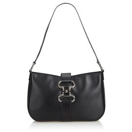 Céline-Celine Black Leather Shoulder Bag-Black