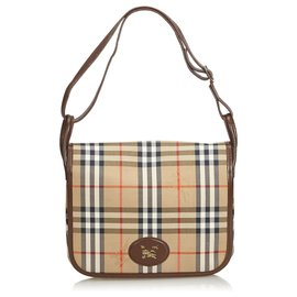 Burberry-Burberry Brown House Check Cotton Crossbody Bag-Brown,Multiple colors,Beige