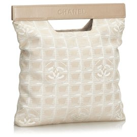 Chanel-Chanel Brown New Travel Line Nylon Handbag-Brown,Beige
