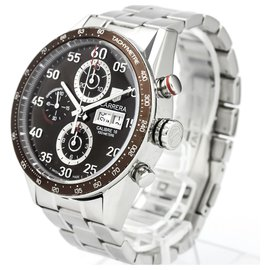Tag Heuer-Tag Heuer Silver Stainless Steel Carrera Day-Date Automatic Watch CV2A12.BA0796-Brown,Silvery