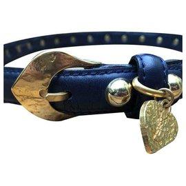 Yves Saint Laurent-Love belt Yves Saint Laurent-Blue,Golden,Navy blue