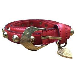 Yves Saint Laurent-Love belt Yves Saint Laurent red-Red,Golden