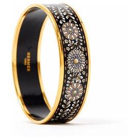 Hermès-EMAIL LARGE BLACK GOLD S-Noir,Blanc,Doré