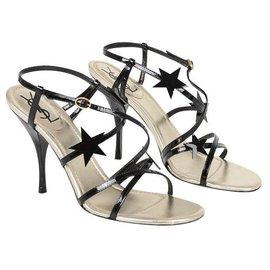 Yves Saint Laurent-Chaussures sandalettes cuir-Noir