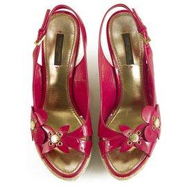 Louis Vuitton-Louis Vuitton Fuschia Patent Leather Jute Wedge Sandal Platform Shoes 36,5-Fuschia