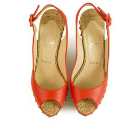 Christian Louboutin-Christian Louboutin Orange Leather Cork Platform Wedges Slingback peep toe Sz 37-Orange