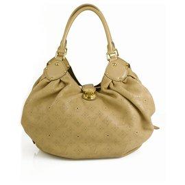 Louis Vuitton-Sac à main Hobo en cuir perforé Louis Vuitton Monogram Mahina en L taille L-Beige