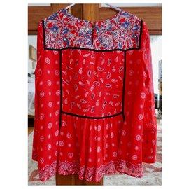 Claudie Pierlot-red blouse paisley pattern claudie pierrot-Red