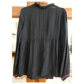 SéZane-black blouse sezane embroidered-Black