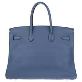 Hermès-HERMES BIRKIN 35 Togo blue leather, Golden hardware, In very good shape !-Blue