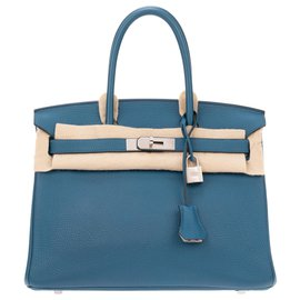 Hermès-Sublime Hermès Birkin Handbag 30, special order, bi-colored leather togo Blue mallard / Pearl gray in very good condition!-Blue,Grey