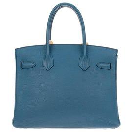 Hermès-Sublime Sac à main Hermès Birkin 30, commande spéciale, bi-colore en cuir togo Bleu colvert/Gris perle en très bon état!-Bleu,Gris