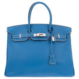 e48c398da3 Hermès-Superbe et Rare Sac à main Hermès Birkin 35 éclat bicolore bleu  Mykonos ...