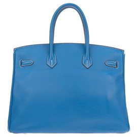 Hermès-Stunning and rare Hermes Birkin Handbag 35 two-tone blue glow Mykonos (outside) & White (inside, back of the straps and under), palladium hardware, In very good shape!-White,Blue