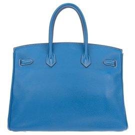 Hermès-Superbe et Rare Sac à main Hermès Birkin 35 éclat bicolore bleu Mykonos (extérieur) & blanc (intérieur, dos des sanglons et dessous), accastillage palladié, en très bon état!-Blanc,Bleu