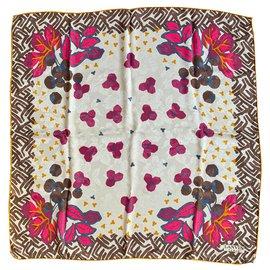 Lanvin-Silk scarves-Brown,Red,Multiple colors,Golden,Purple,Cream