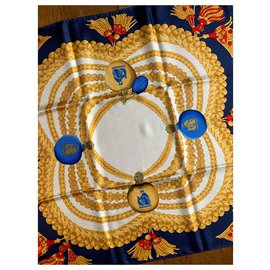 Lanvin-Silk scarves-White,Red,Blue,Golden