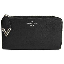 Louis Vuitton-Portefeuille Comete Louis Vuitton Black Veau Cachemire-Noir