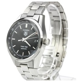 Tag Heuer-Tag Heuer Silver Stainless Steel Carrera GMT Twin-Time Automatic Watch WV2115.BA0787-Black,Silvery